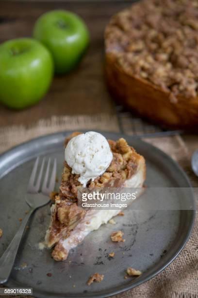 Sour Cream Apple Pie Slice on Tin Plate