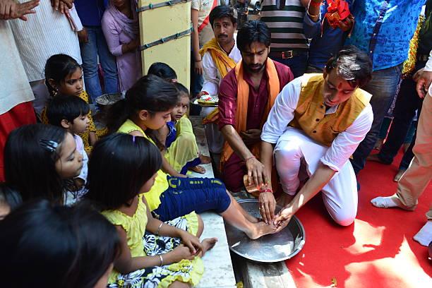 Television Actor Sourabh Raaj Jain Do Kanya Pujan At Mata