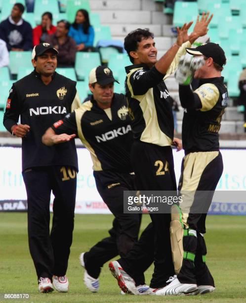 Sourav Gangauly of the Kolkata Knight Riders celebrates the wicket of Ravi Bopara during the IPL T20 match between Kings XI Punjab v Kolkata Knight...