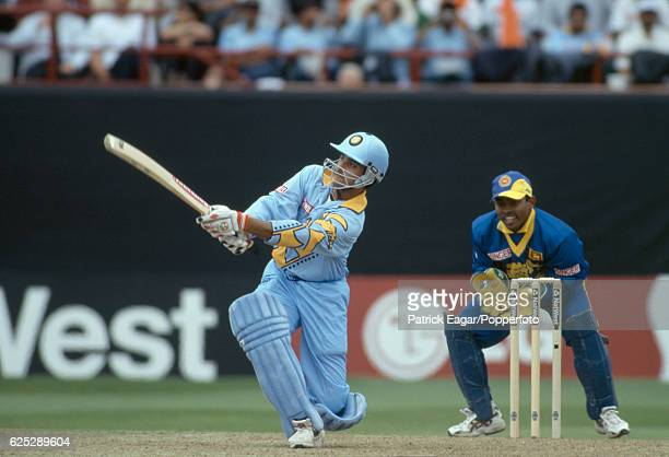 Sourav Ganguly batting for India during his innings of 183 in the World Cup group match between India and Sri Lanka at the County Ground Taunton on...
