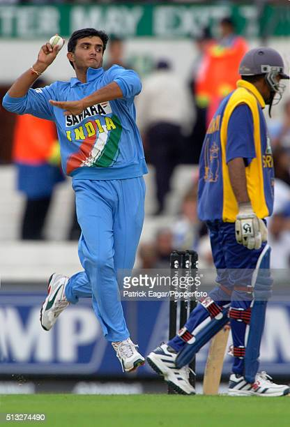 Sourav Ganguly bowling for India during the NatWest Series One Day International between India and Sri Lanka at The Oval London 30th June 2002 India...