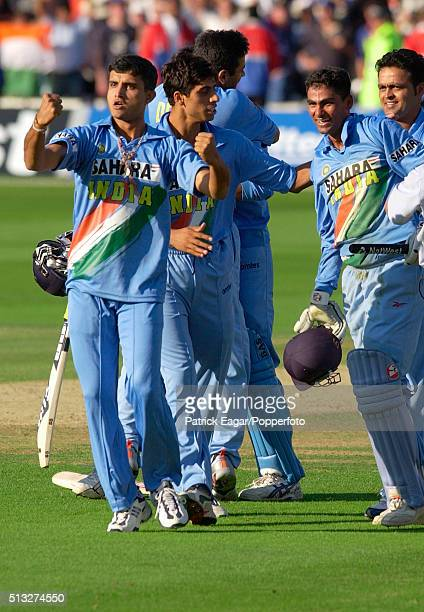 Sourav Ganguly members of the Indian team celebrate after winning the NatWest Series Final between England and India at Lord's London 13th July 2002...