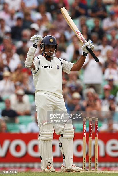 Sourav Ganguly of India acknowledges his half century during day four of the Third Test match between England and India at the Oval on August 12,...