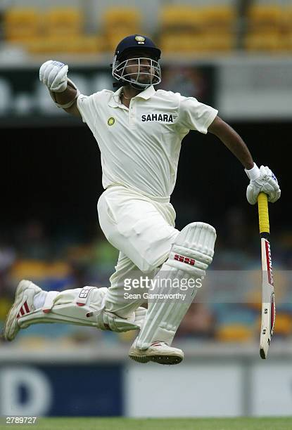 Sourav Ganguly of India celebrates after making a century during day 4 of the first test between Australia and India played at the GABBA December 7,...