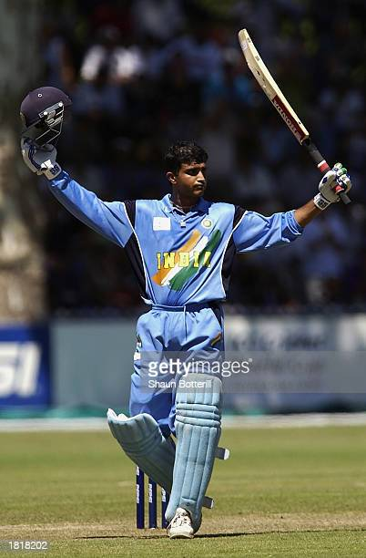Sourav Ganguly of India celebrates his century during the ICC Cricket World Cup 2003 Pool A match between India and Namibia held on February 23, 2003...