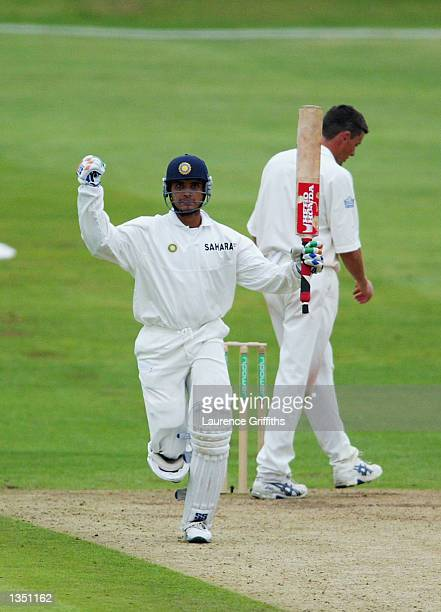 Sourav Ganguly of India celebrates his century during the second day of the third Npower test match at Headingley in Leeds on August 23 2002