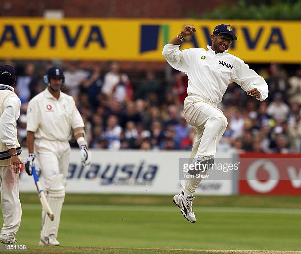 Sourav Ganguly of India celebrates the wicket of Andrew Caddick of England during the fifth day of the third Npower test match at Headingley in Leeds...