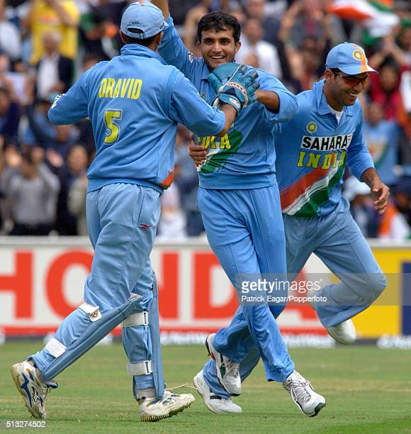 Sourav Ganguly of India celebrates the wicket of Naveed Nawaz with Rahul Dravid during the NatWest Series One Day International between India and Sri...