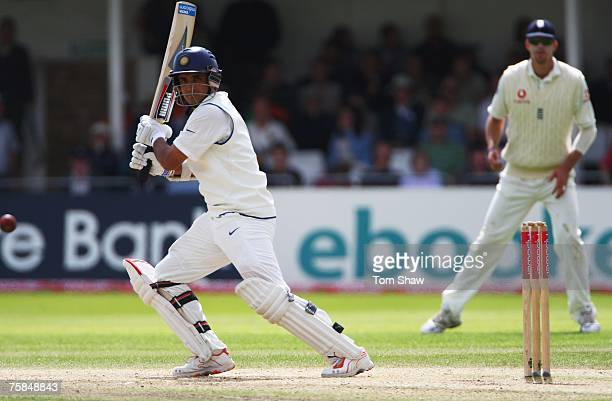 Sourav Ganguly of India hits out during day three of the Second Test match between England and India at Trent Bridge on July 29, 2007 in Nottingham,...