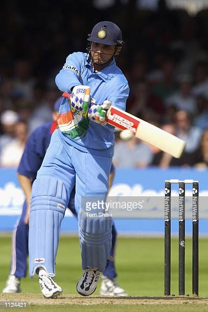 Sourav Ganguly of India on his way to his fifty during the match between England and India in the NatWest One Day Series Final at Lord's in London...