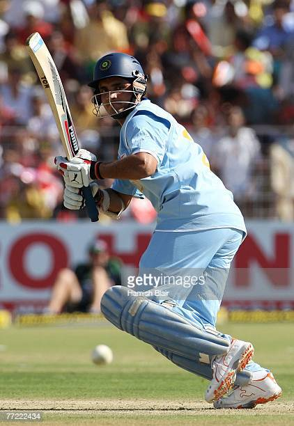 Sourav Ganguly of India runs the ball to third man during the fourth one day international match between India and Australia at the Sector 16 Stadium...