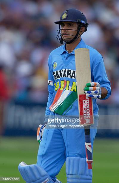 Sourav Ganguly of India walks off after being dismissed for 60 runs during the NatWest Series Final between England and India at Lord's London 13th...