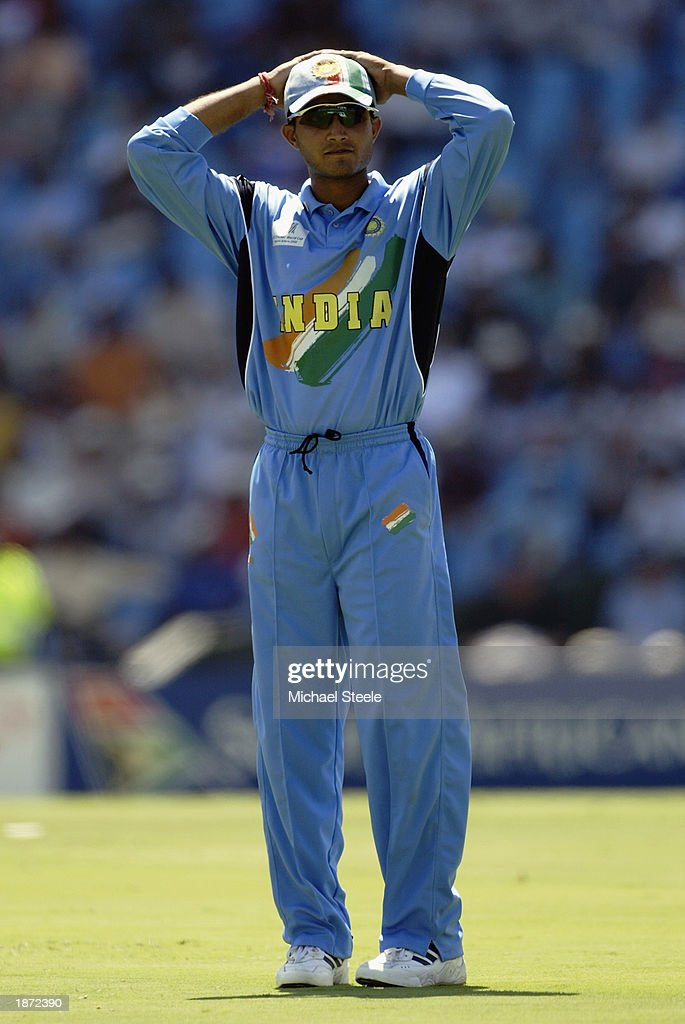 Sourav Ganguly of India with his hands on during the ICC Cricket World Cup Super Six match between New Zealand and India held on March 14, 2003 at Supersport Park in Centurion, South Africa. India won the match by 7 wickets.