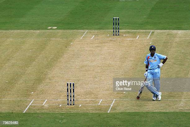 Sourav Ganguly of Indiain awaits the arrival of his next batting partner during the ICC Cricket World Cup 2007 Group B match between Bangladesh and...