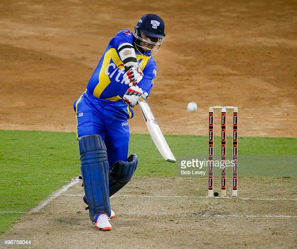 Sourav Ganguly of Sachin's Blasters bats during the Cricket AllStars match at Minute Maid Park on November 11 2015 in Houston Texas