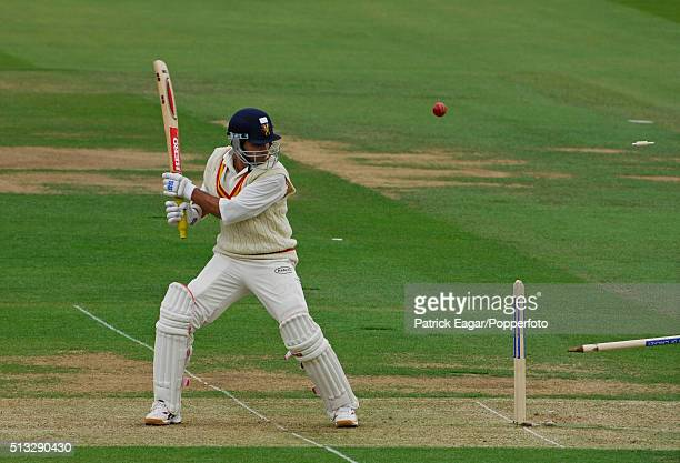Sourav Ganguly of the MCC XI is bowled by Chaminda Vaas for 14 during the World Cricket Tsunami Appeal match between MCC XI and an International XI...