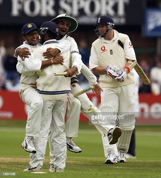 Sourav Ganguly, Virender Sehwag and Harbhajan Singh of India celebrate after victory during the fifth day of the third Npower test match at...