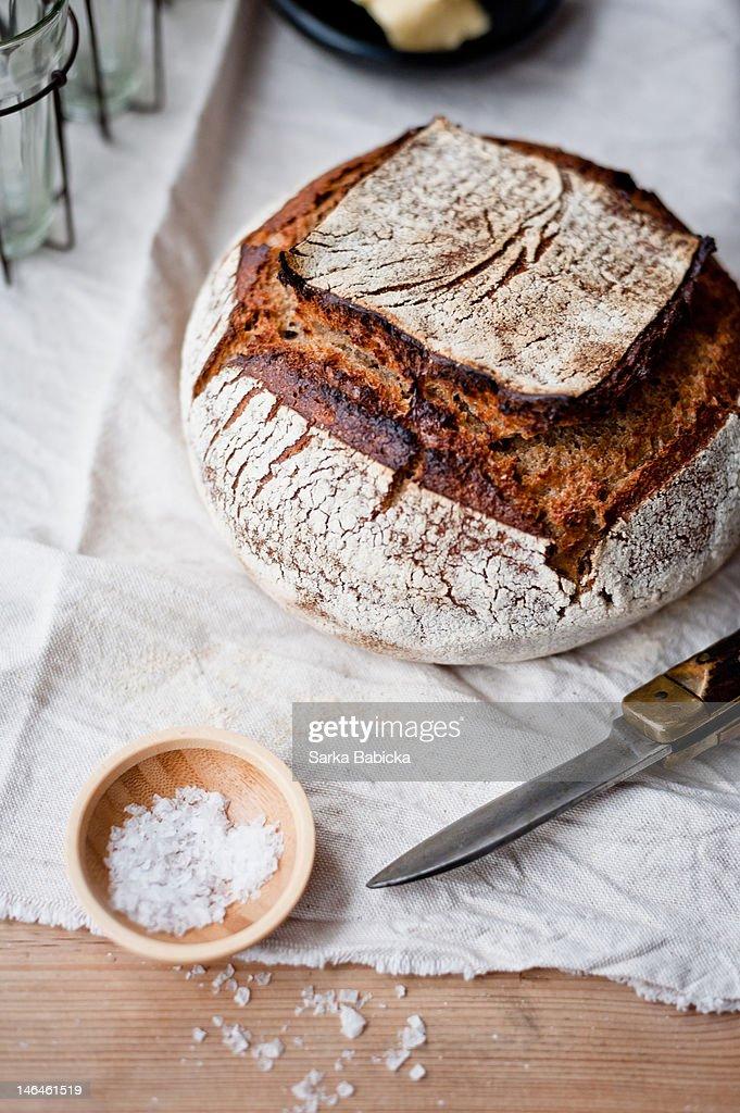 Sourdough bread and salt : Stock Photo