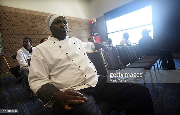 Sous chef Samuel Berfect attends a job fair for 400 positions available at the renovated Roosevelt Hotel May 13 2009 in New Orleans Louisiana The...