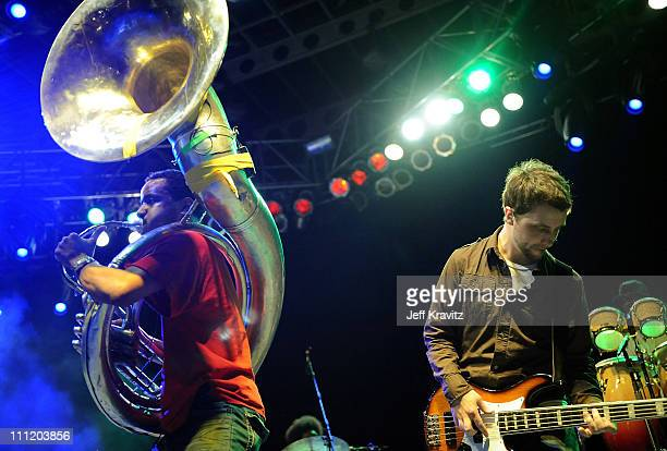 Sousaphonist Damon Tuba Gooding Jr Bryson and bassist Owen Biddle of The Roots performs onstage during day 2 of the 6th Annual Langerado Music...