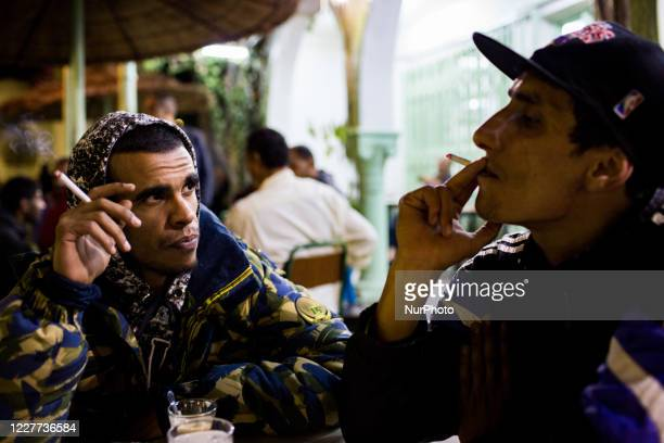 Sousse, Tunisia, 7 November 2015. Rappers get together in a cafe to listen to music, write and practice their art.