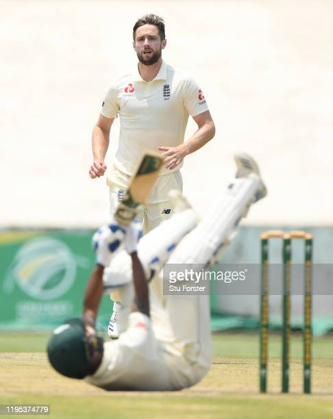 South Aafrica batsman Keegan Petersen is put on his backside by a delivery from England bowler Chris Woakes during day 3 of the 3 day practice match...
