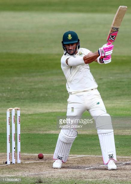 South Afria's cricket player Faf du Plessis plays a shot during the 3rd day of the first Test cricket match between South Africa and Sri Lanka at...