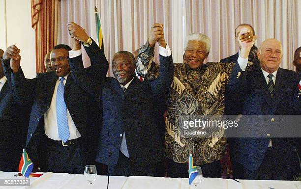 South Africa 2010 Bid Chairman Irvin Khoza South African President Thabo Mbeki and former South African heads of state Nelson Mandela and FW de Klerk...