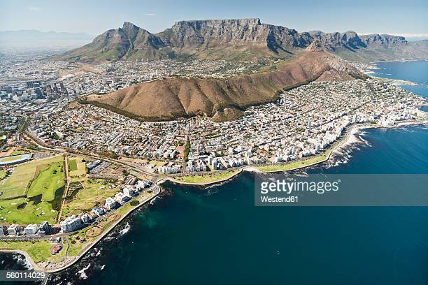 south africa, aerial view of cape town - table mountain stock pictures, royalty-free photos & images