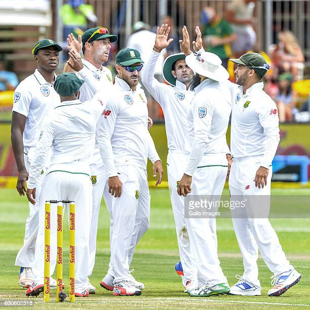 South Africa after taking the last wicket against Sri Lanka during day 3 of the 1st Test match between South Africa and Sri Lanka at St Georgeâs Park...