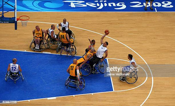 South Africa and Israel Paralympic Basketball teams play a warm up game prior to tommorows Beijing Paralympic Games Opening ceremony at the National...