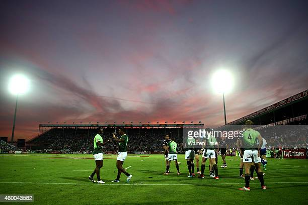 South Africa and New Zealand shake hands after the Cup Semi Final during day two of the Emirates Dubai Sevens HSBC Sevens World Series at The Sevens...