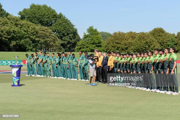 South Africa and Pakistan line up for their national anthems prior to the ICC U19 Cricket World Cup match between Pakistan and South Africa at Hagley...