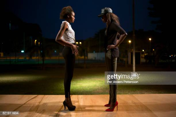 South Africa based Choreographer and model Huguette Marianne Marara trains models a day before Kinshasa Fashion Week on July 23 at Shark club in...