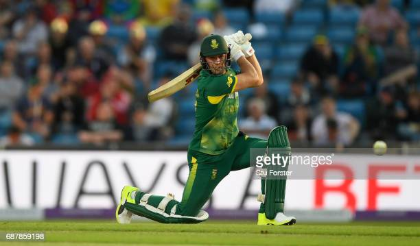 South Africa batsman AB de Villiers hits out during the 1st Royal London One Day International match between England and South Aafrica at Headingley...
