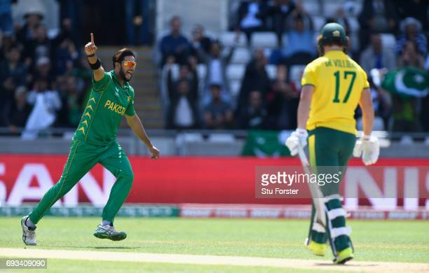 South Africa batsman AB de Villiers is dismissed by a celebrating Imad Wasim for 0 during the ICC Champions Trophy match between South Africa and...