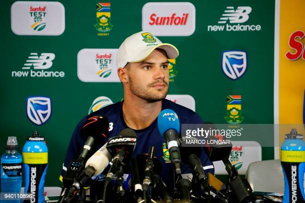 South Africa batsman Aiden Markram gives a press conference after the first day of the fourth Test cricket match between South Africa and Australia...