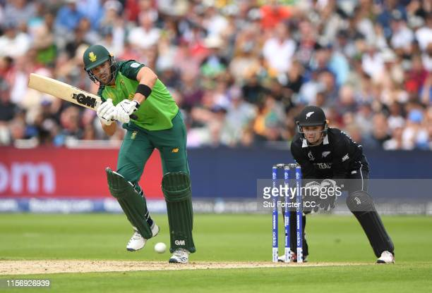 South Africa batsman Aiden Markram hits out as keeper Tom Latham looks on during the Group Stage match of the ICC Cricket World Cup 2019 between New...