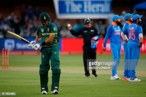 South Africa batsman Aiden Markram leaves the ground as India bowler Jasprit Bumrah is celebrated for his dismissal during the fifth One Day...