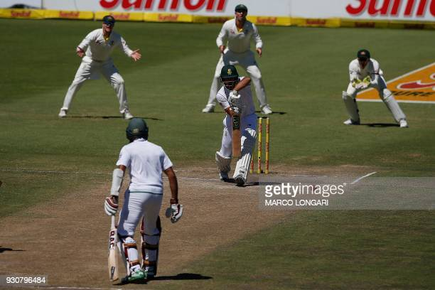 South Africa batsman Aiden Markram plays a shot during day four of the second Cricket Test match between South Africa and Australia at St Georges...