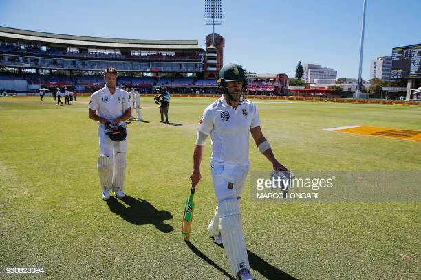 South Africa batsman and Proteas captain Faf du Plessis and Theunis de Bruyn leave the ground after wining the second test during day four of the...