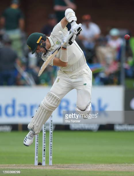 South Africa batsman Anrich Nortje avoids a short ball during Day Three of the Third Test between England and South Africa on January 18 2020 in Port...