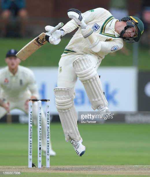 South Africa batsman Anrich Nortje avoids a short ball from Mark Wood during Day Three of the Third Test between England and South Africa on January...