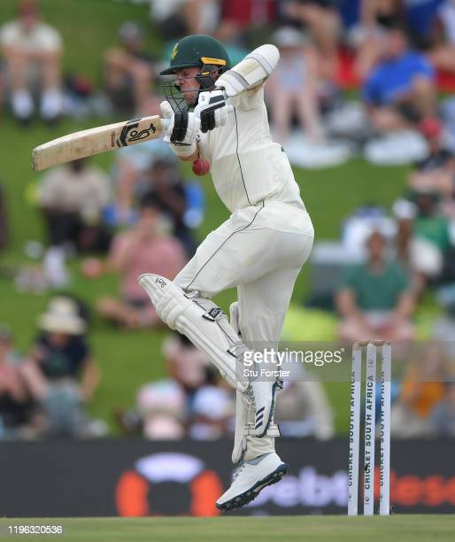 South Africa batsman Anrich Nortje fends off a short ball from Stuart Broad during Day Three of the First Test match between England and South Africa...
