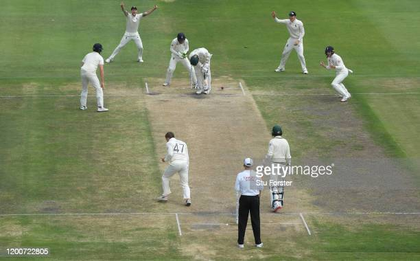 South Africa batsman Anrich Nortje is bowled by Dom Bess as the close in fielders left to right Ben Stokes, Zac Crawley and Ollie Pope celebrate...
