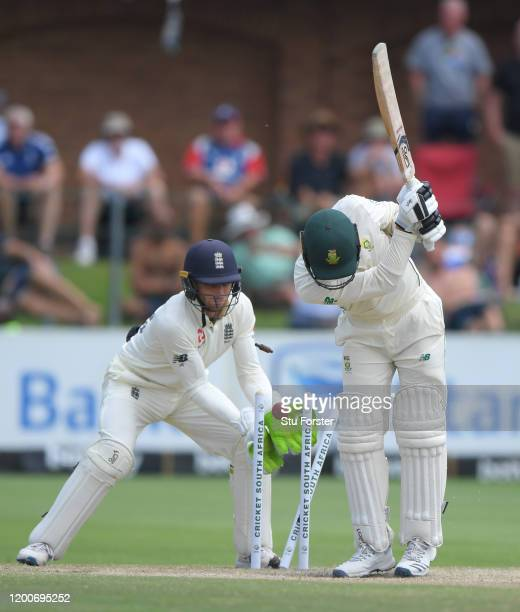 South Africa batsman Anrich Nortje is bowled by Dom Bess during Day Five of the Third Test between South Africa and England at St George's Park on...