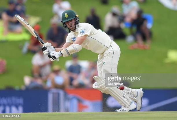 South Africa batsman Anrich Nortje picks up runs during Day Three of the First Test match between England and South Africa at SuperSport Park on...