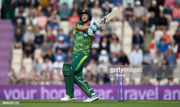 South Africa batsman Chris Morris hits a six during the 2nd Royal London One Day International between England and South Africa at The Ageas Bowl on...
