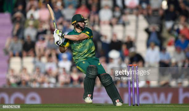 South Africa batsman David Miller hits a boundary during the 2nd Royal London One Day International between England and South Africa at The Ageas...