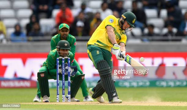 South Africa batsman David Miller hits a six during the ICC Champions Trophy match between South Africa and Pakistan at Edgbaston on June 7 2017 in...